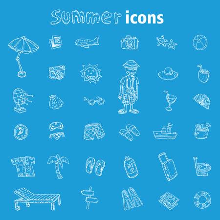 vector collection Summer Icons. Illusztráció