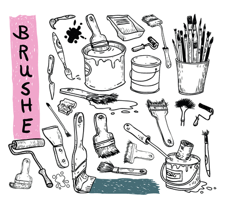 Paint brush set, vector illustration