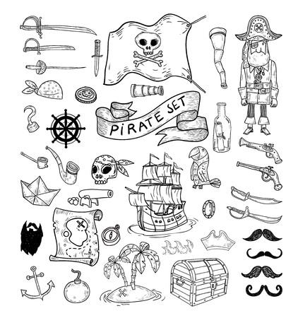 éléments de pirate doodle, illustration vectorielle. Vecteurs