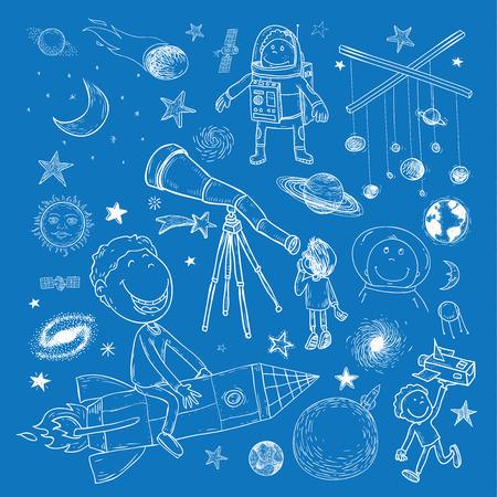 Space boy set, hand drawn vector illustration.