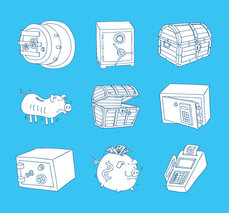 Safe icon,hand drawn vector illustration