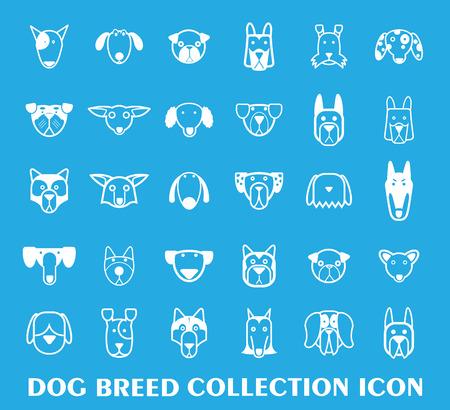 cartoon dog set, Vector illustration.