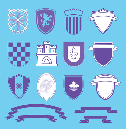 Coat of arms elements set, vector illustration.