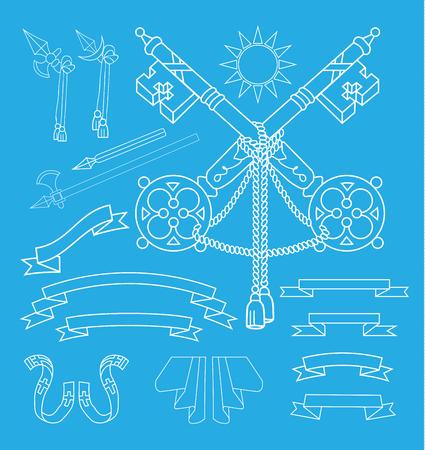 Coat of arms elements set, vector illustration.