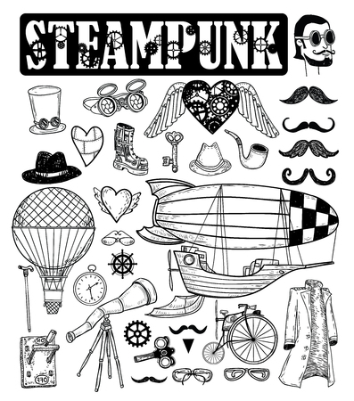 Steampunk collection, hand drawn vector illustration.