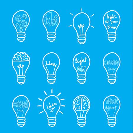 Set bulb  idea icon, vector illustration Illusztráció