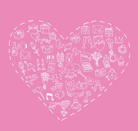 valentine, love icons, vector illustration.