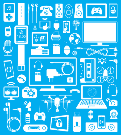 set of  devices icons and communication.