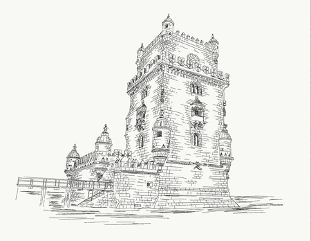Belem tower Lisbon - Portugal, hand drawing. Illusztráció