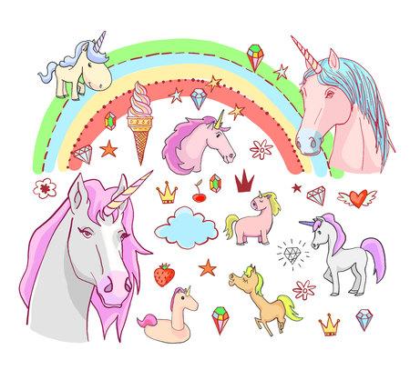 unicorn magic design element set Illusztráció