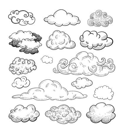 Doodle Collection of Hand Drawn Vector Clouds Illusztráció