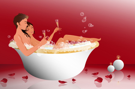 Romantic couple in the bathtub Vector