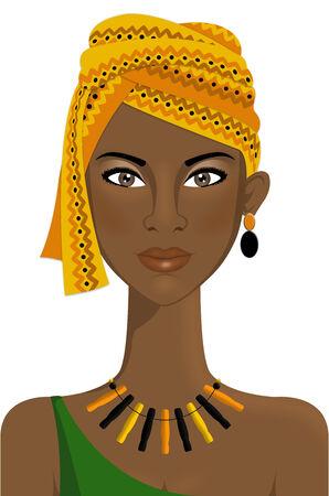 turban: Portrait of beautiful african woman with turban