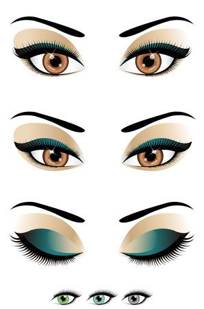 ojos verdes: Ojos abiertos a cerrados Vectores