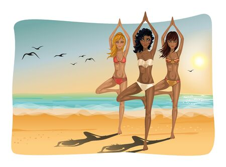 vrksasana: Group of beautiful women doing yoga on the beach. Position Vrksasana.