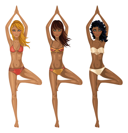vrksasana: Vector Illustration of three girls in bikini, different ethnicity, performing tree pose or Vrksasana.