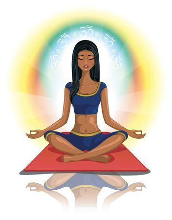 mujer meditando: Mujer meditando s�mbolo hind� de OM Vectores
