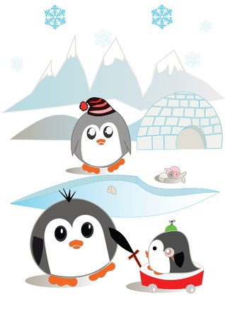 igloo: Penguin family illustration