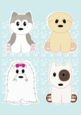 Cute puppies set Vector
