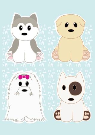 perro caricatura: Perritos lindos conjunto
