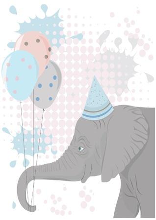 党気球を保持している象  イラスト・ベクター素材