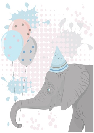 Elephant holding party balloons Stock Vector - 10994425