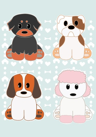 Cute puppies set 2 Vector