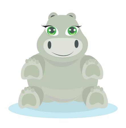 hipopotamo caricatura: Hipopótamo del bebé ilustración Vectores