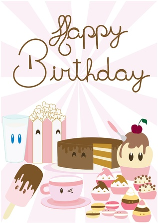 ice cream soft: Happy Birthday card illustration Illustration