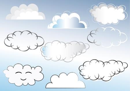 Set of different clouds illustrationr. EPS10