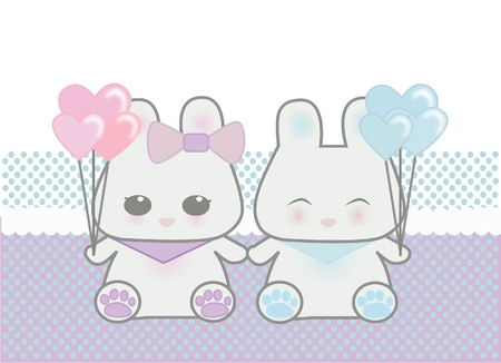 manga girl: Cute bunnies holding balloons Illustration