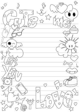 Teen doodle border Stock Vector - 11912537