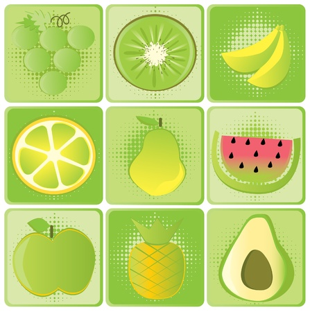 Set of fruits illustration Vector