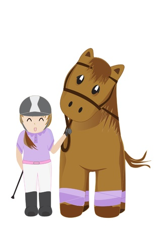 brown horse: Cute girl and horse illustration Illustration
