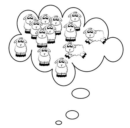 Counting sheep illustration Illustration