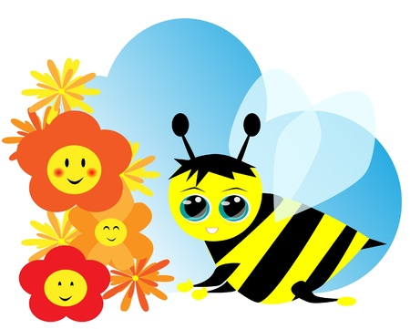 Cute bee and flowers Vector