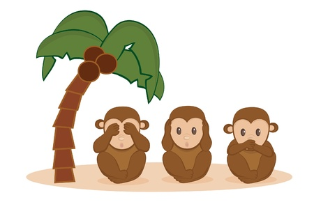 sayings: Drie kleine aapjes Stock Illustratie