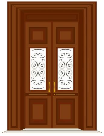 旧式な木製のドアの図