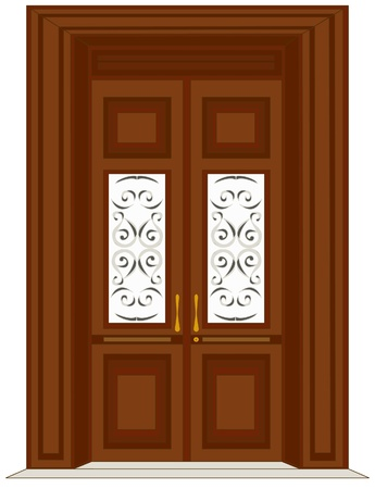 Antique wooden door illustration Vector