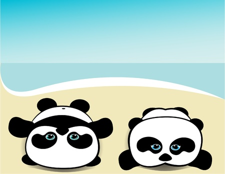 homme couch�: Pandas � la plage Illustration