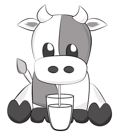 かわいい牛の牛乳を飲む  イラスト・ベクター素材