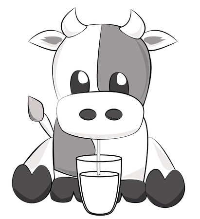 calf: Cute cow drinking milk Illustration