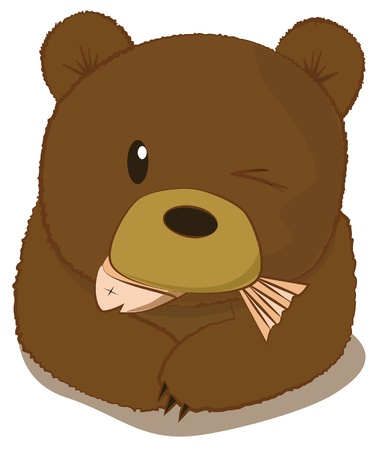Cute bear eating fish  Illustration
