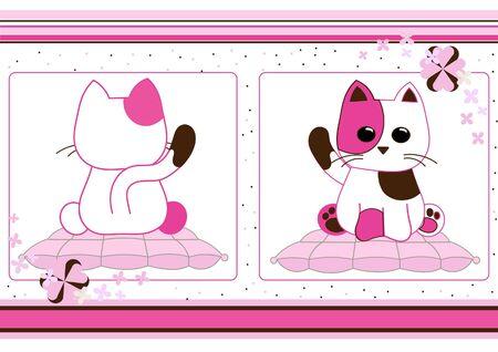 Cute cat card Stock Vector - 12000865