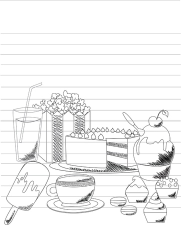 layer cake: Candy doodle illustration