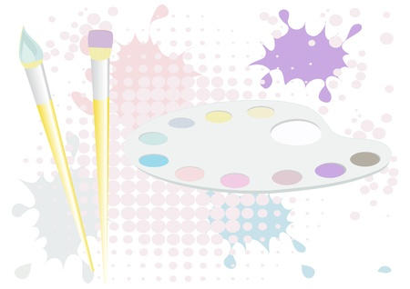 art and craft equipment: Brushes and palette background