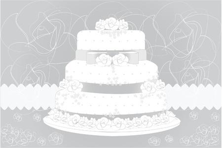 ウエディング ケーキと花の背景