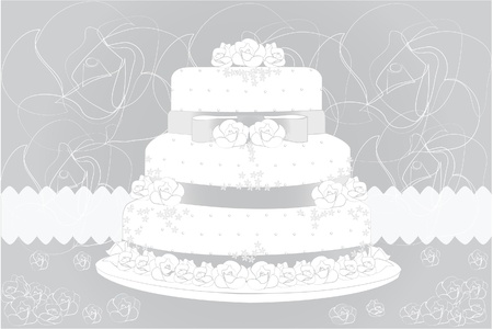 Wedding cake and floral background Vector