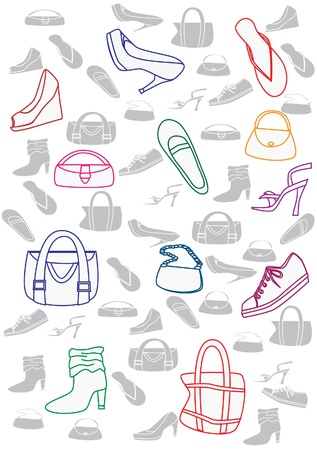Shoes and bags background Vector