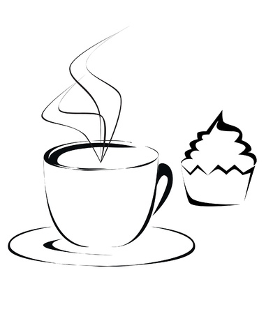 cream tea: Cup og coffee and cupcake outline illustration Illustration